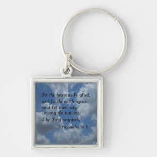 1 Chronicles 16:31 Silver-Colored Square Keychain