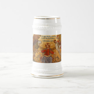 1 Chronicles 16:34 Jesus Mosaic Beer Stein