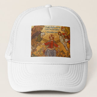 1 Chronicles 16:34 Jesus Mosaic Trucker Hat