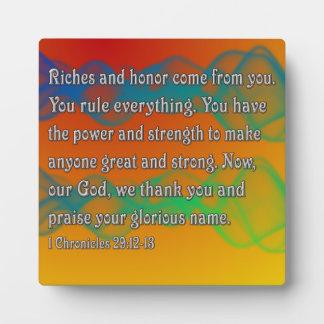 1 Chronicles 29:12-13 Plaque