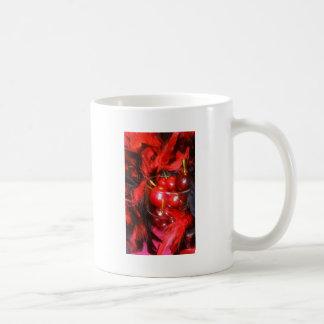 1 Classic White Coffe Mug Cherries