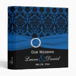 """1"""" Cobalt Blue and Black Damask Wedding Binder"""