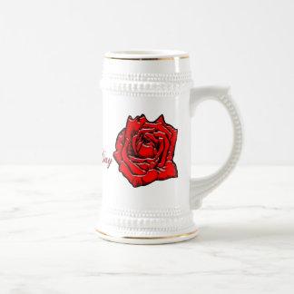 1 color de rosa tazas de café