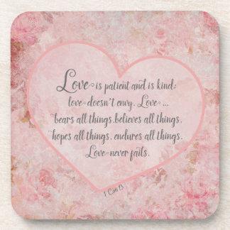 1 Cor 13 - Love is Patient Love is Kind Beverage Coaster