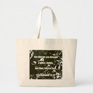 1 Corinthians 13:12 Large Tote Bag