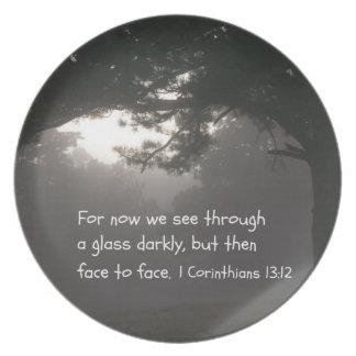 1 Corinthians 13:12 Melamine Plate