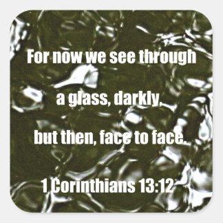 1 Corinthians 13:12 Square Sticker