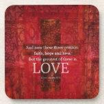 1 Corinthians 13:13 BIBLE VERSE ABOUT LOVE Beverage Coasters