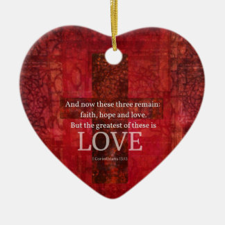 1 Corinthians 13:13 BIBLE VERSE ABOUT LOVE Double-Sided Heart Ceramic Christmas Ornament