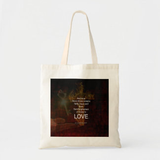 1 Corinthians 13:13 Bible Verses Quote About LOVE Tote Bag