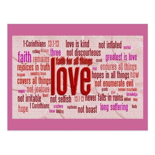 1 Corinthians 13:1-13 Heart Cloth Postcards