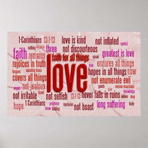 1 Corinthians 13:1-13 Heart Cloth Poster