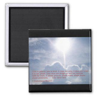 1 Corinthians 13:4 6-7  Clouds Fridge Magnet