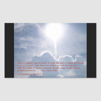 1 Corinthians 13:4 6-7  Clouds Rectangular Sticker