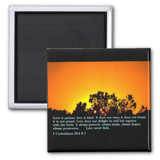 1 Corinthians 13:4 6-7  Sunset Fridge Magnet