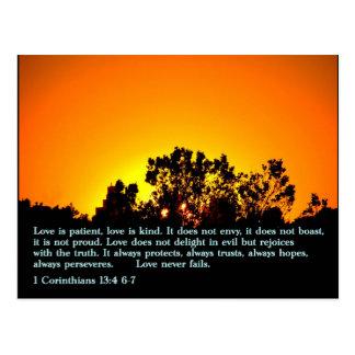 1 Corinthians 13:4 6-7  Sunset Postcard