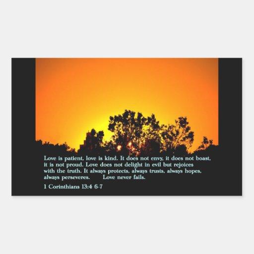 1 Corinthians 13:4 6-7  Sunset Rectangular Sticker