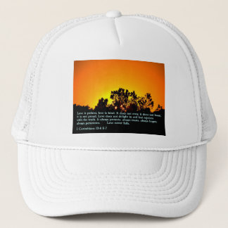 1 Corinthians 13:4 6-7  Sunset Trucker Hat