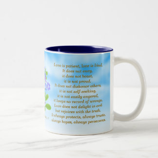 1 Corinthians 13:4-7 Forget Me Nots Bible Verse Mu Two-Tone Coffee Mug