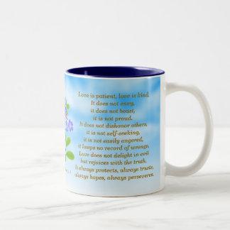 1 Corinthians 13:4-7 Forget Me Nots Bible Verse Mu Two-Tone Coffee Mug