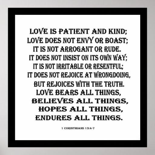 1 Corinthians 13:4-7 love Print