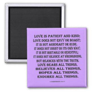 1 Corinthians 13:4-7 true love 2 Inch Square Magnet