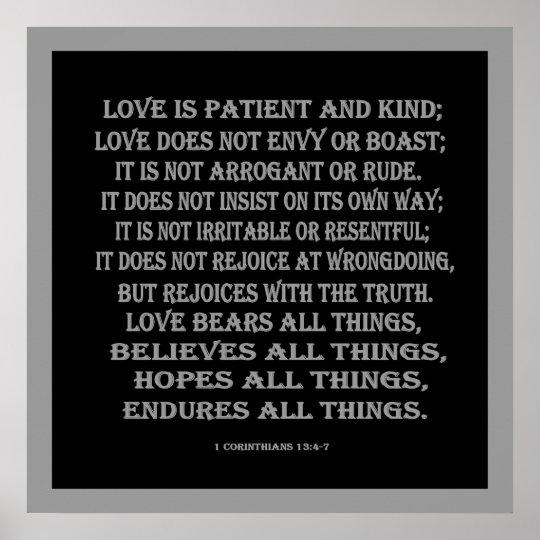 1 Corinthians 13 Wedding Invitations: 1 Corinthians 13:4-7 True Love Poster