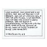 "1 Corinthians 13 4-8 5"" X 7"" Invitation Card"