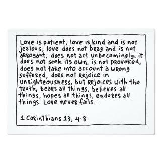 """1 Corinthians 13 4-8 Invitación 5"""" X 7"""""""