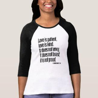 1 Corinthians 13:4 Ladies 3/4 Sleeve Raglan Fitted Tee Shirts