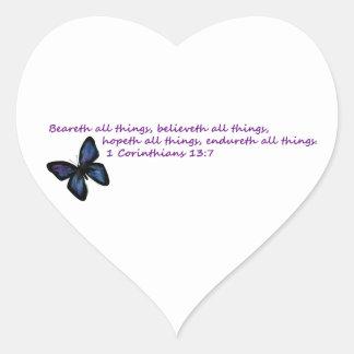 1 Corinthians 13:7 Heart Stickers