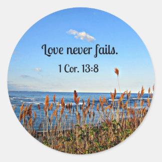 1 Corinthians 13:8 Love never fails. Classic Round Sticker