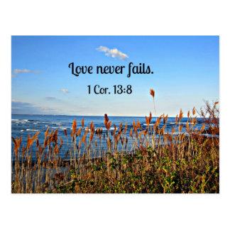 1 Corinthians 13:8 Love never fails. Postcard