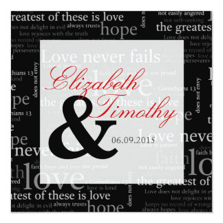 1 Corinthians 13 Black & White Wedding Invitation