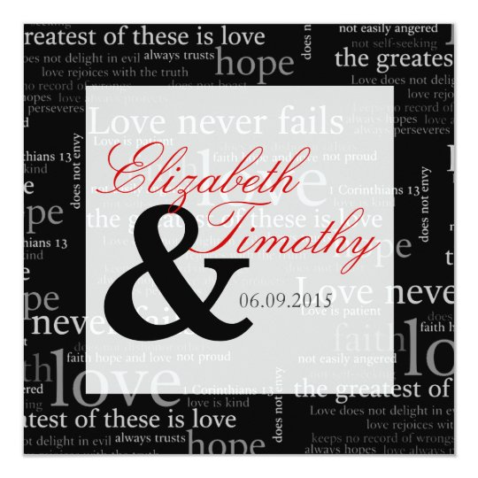 1 Corinthians 13 Black & White Wedding Invitation