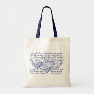 1 Corinthians 13 Heart Love never fails tote bag