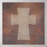 1 Corinthians 13 Love Chapter Cross Rustic Poster