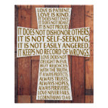 1 Corinthians 13 Love Chapter Cross Rustic Wood Poster