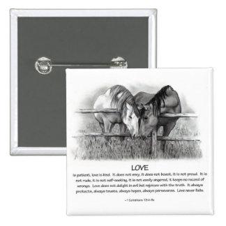 1 Corinthians 13: Love, Horses in Pencil 2 Inch Square Button
