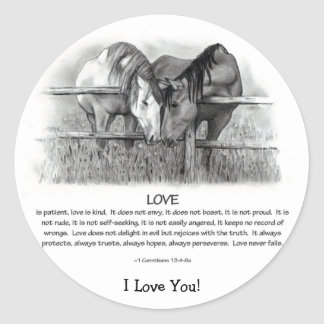 1 Corinthians 13: Love, Horses in Pencil Classic Round Sticker