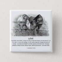 1 Corinthians 13: Love, Horses in Pencil Pinback Button