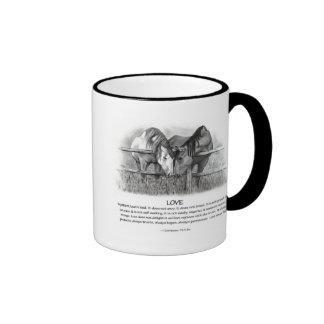 1 Corinthians 13: Love, Horses in Pencil Ringer Mug