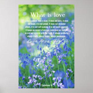 1 Corinthians 13, poster precioso de los bluebells