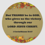 1 Corinthians 15:57 But thanks be to God, who... Sticker