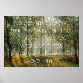 1 Corinthians 2:9 Bible Verse Forest Scene Photo Poster
