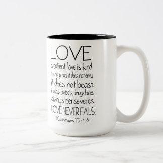 1 Corinthians Bible Verse Quote Love Two-Tone Coffee Mug