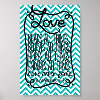 1 Corinthians Love Never Fails Poster