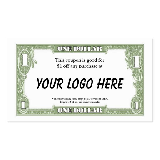 $1 Coupon Card Business Cards