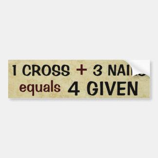 1 Cross plus 3 Nails Car Bumper Sticker