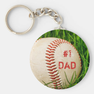 #1 Dad Baseball Keychain